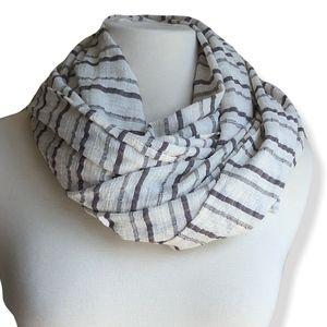 Striped cream & chocolate 100% cotton scarf | NWOT